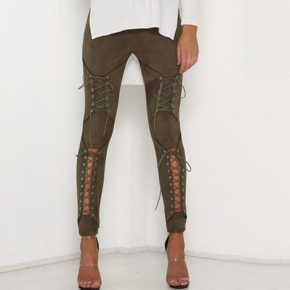 Lace Up Suede Pants