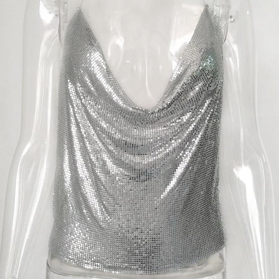 Metallic Halter Crop Top