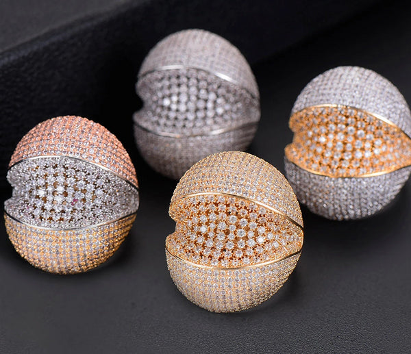 Open Clam Studded Statement Ring - Various Sizes