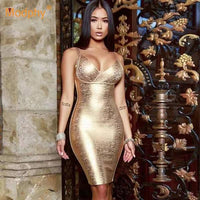 Metallic V-Neck Bodycon Dress