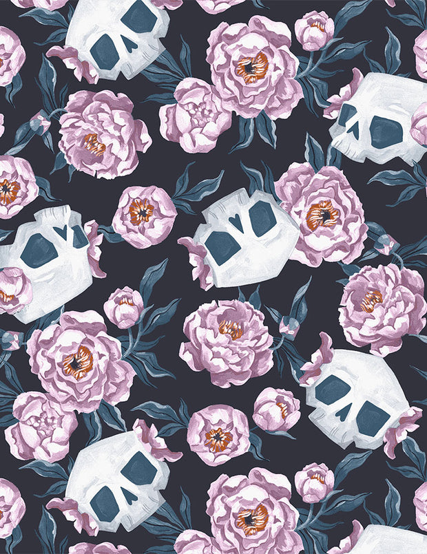 Toil and Trouble - Skull Floral in Graphite - Rae Ritchie for Dear Stella - SRR1822-GRAPHITE - Half Yard