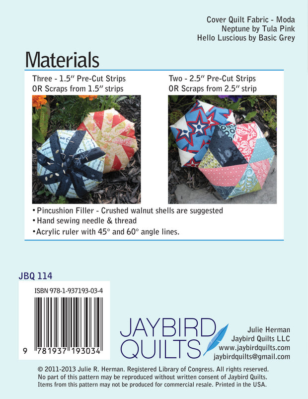 Biscuit Giant Pincushions - Jaybird Quilts - Paper Pattern - JBQ 114