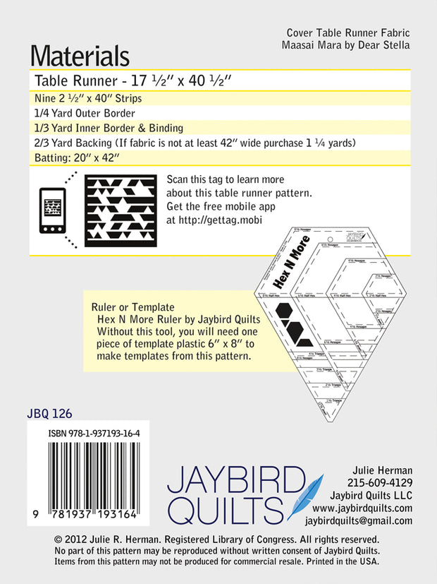 Tasty Table Runner - Jaybird Quilts - Paper Pattern - JBQ 126