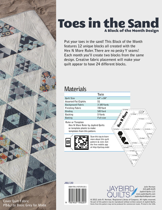 Toes in the Sand - Jaybird Quilts - Printed Quilt Program - JBQ 130