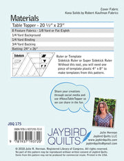 Nova Table Topper - Jaybird Quilts - Paper Pattern - JBQ 175