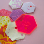 "1"" Hexagon Starter Kit - Acrylic Template and 30 Paper Pieces - PDF-1INCHHEX-SET"