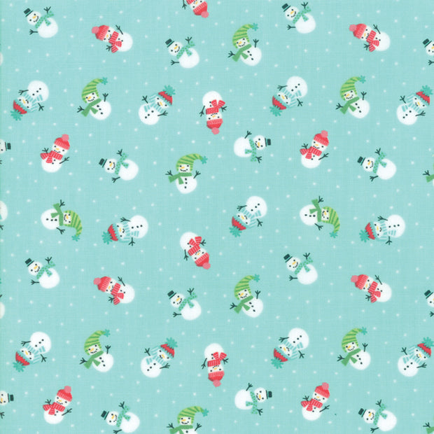 Snow Day - Lil Snowman in Aqua - Stacey Iest Hsu for Moda - 20634 14 - Half Yard
