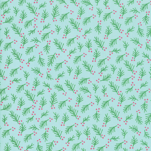Snow Day - Winter Foliage in Aqua - Stacey Iest Hsu for Moda - 20636 14 - Half Yard