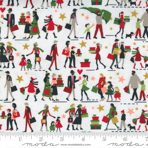 Hustle and Bustle - Gift Giving People in Blizzard - Basic Grey for Moda Fabrics - 30661-11 - Half Yard