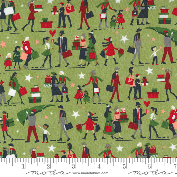 Hustle and Bustle - Gift Giving People in Pear - Basic Grey for Moda Fabrics - 30661-16 - Half Yard