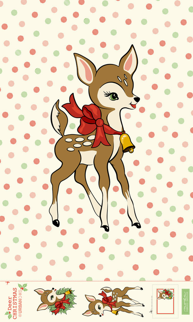 Deer Christmas - Deer Panel - Urban Chiks for Moda - 31160P