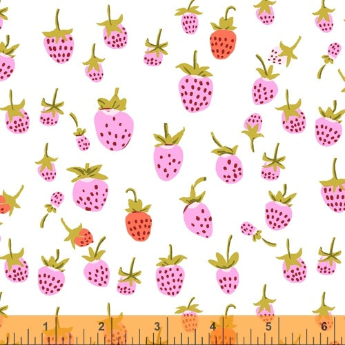 Heather Ross 20th Anniversary - Strawberry in Pink - Heather Ross for Windham - 37024A-2 - Half Yard