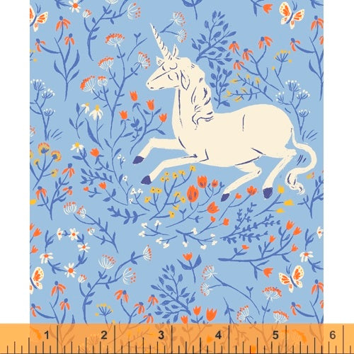 Heather Ross 20th Anniversary - Unicorn in Blue - Heather Ross for Windham - 39657A-4 - Half Yard