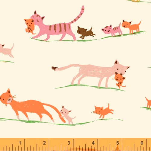 Heather Ross 20th Anniversary - Morning Cats in Cream - Heather Ross for Windham - 40931A-5 - Half Yard