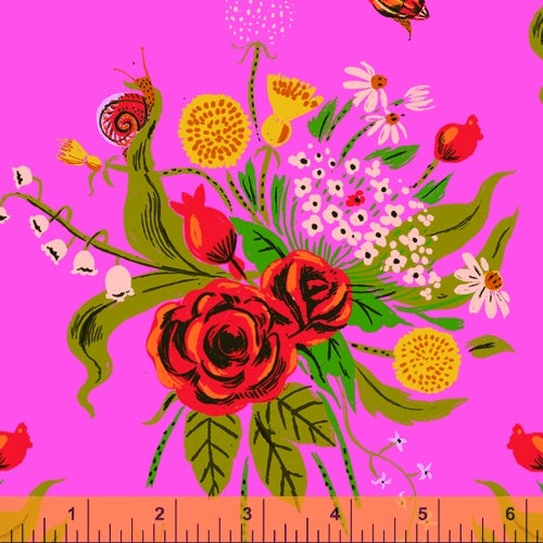 Heather Ross 20th Anniversary - Wild Flowers in Pink - Heather Ross for Windham - 42205A-1 - Half Yard