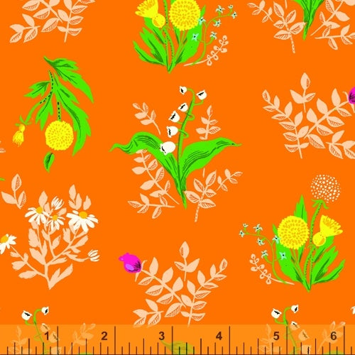 Heather Ross 20th Anniversary - Bouquet in Orange - Heather Ross for Windham - 422007A-10 - Half Yard