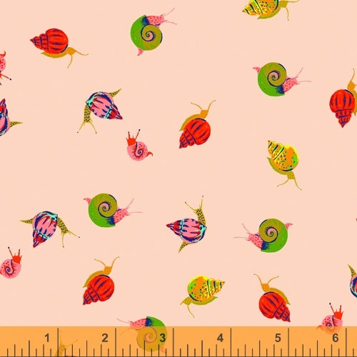 Heather Ross 20th Anniversary - Snails in Peach - Heather Ross for Windham - 42209A-13 - Half Yard