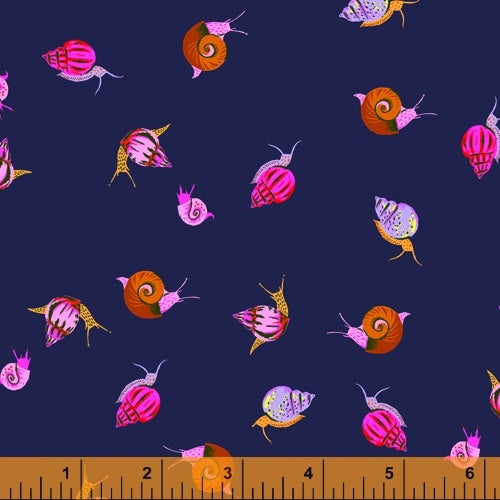 Heather Ross 20th Anniversary - Snails in Indigo - Heather Ross for Windham - 42209A-3 - Half Yard