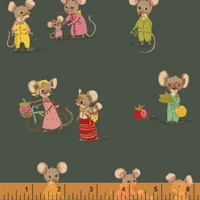 Trixie - Country Mouse in Dark Green - Heather Ross for Windham - 50897-3 - Half Yard
