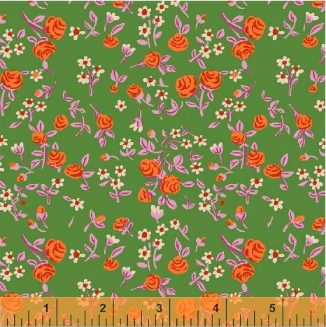 Trixie - Mousies Floral in Kelly - Heather Ross for Windham - 50898-6 - Half Yard