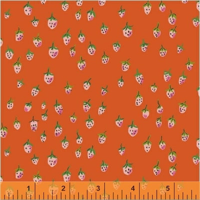 Trixie - Field Strawberries in Orange - Heather Ross for Windham - 50899-10 - Half Yard