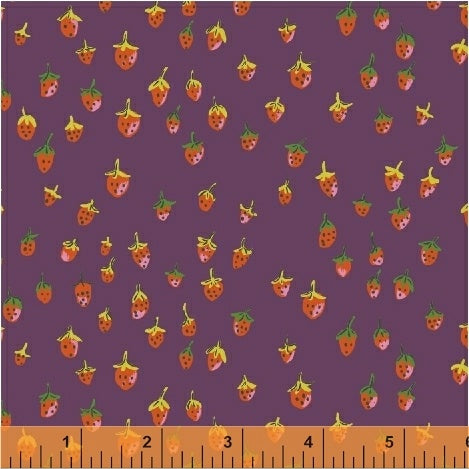 Trixie - Field Strawberries in Plum - Heather Ross for Windham - 50899-11 - Half Yard