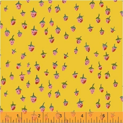 Trixie - Field Strawberries in Gold - Heather Ross for Windham - 50899-12 - Half Yard