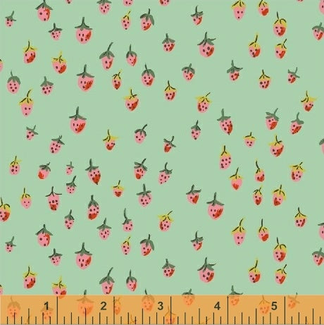 Trixie - Field Strawberries in Aqua - Heather Ross for Windham - 50899-8 - Half Yard
