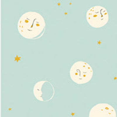 Far Far Away II - Moons in Aqua - Heather Ross for Windham - 51200-2 - Half Yard