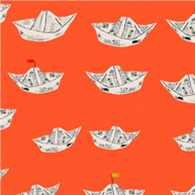 Far Far Away II - Newspaper Boat in Red Orange - Heather Ross for Windham - 51202-10 - Half Yard
