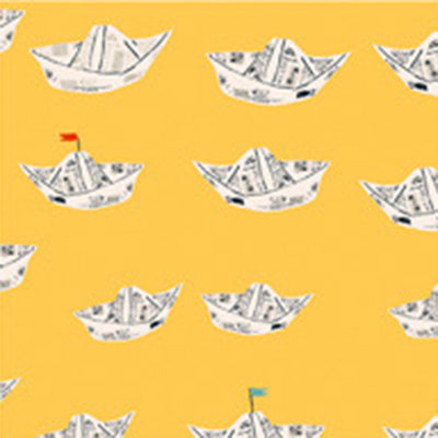 Far Far Away II - Newspaper Boat in Yellow - Heather Ross for Windham - 51202-4 - Half Yard