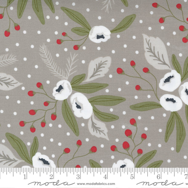 Christmas Morning - Snow Blossoms in Dove - Lella Boutique for Moda Fabrics - 5140-13 - Half Yard