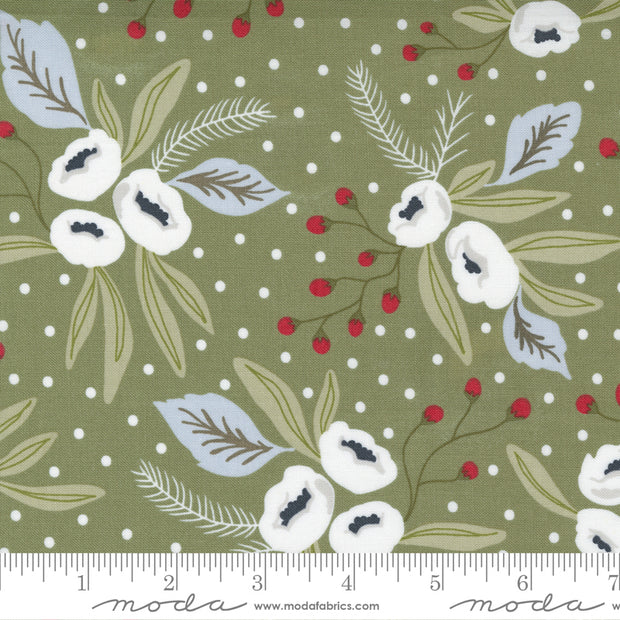Christmas Morning - Snow Blossoms in Pine - Lella Boutique for Moda Fabrics - 5140-15 - Half Yard