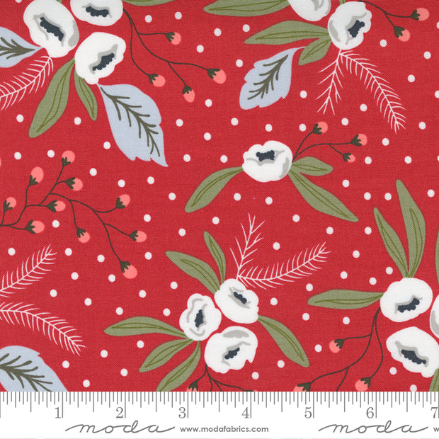 Christmas Morning - Snow Blossoms in Cranberry - Lella Boutique for Moda Fabrics - 5140-16 - Half Yard