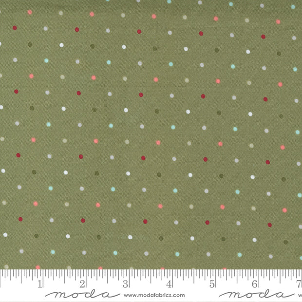 Christmas Morning - Magic Dot in Pine - Lella Boutique for Moda Fabrics - 5147-15 - Half Yard
