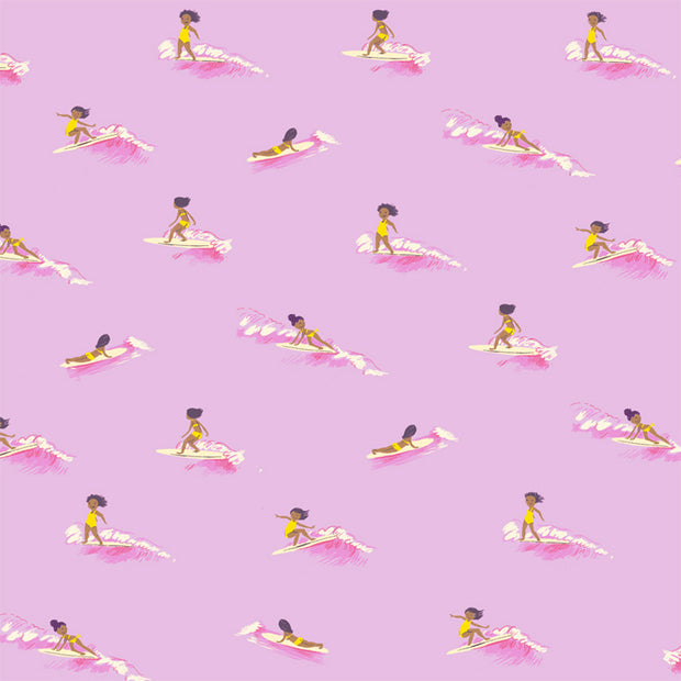 Malibu - Mini Surfer in Pink - Heather Ross for Windham - 52146-7 - Half Yard