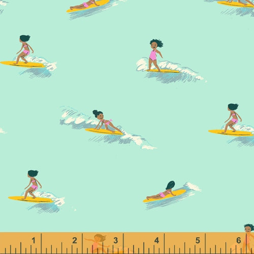 PREORDER - Malibu - Tiny Surfer in Sea Foam COTTON LAWN - Heather Ross for Windham - 52146L-6 - Half Yard