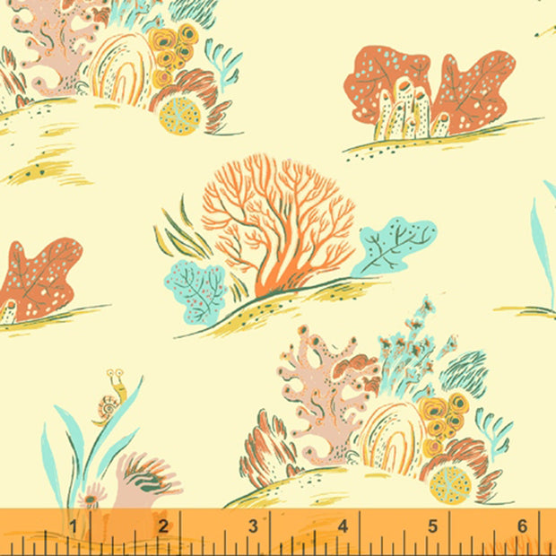 Malibu - Underwater in Coral COTTON LINEN - Heather Ross for Windham - 52147LC-9 - Half Yard