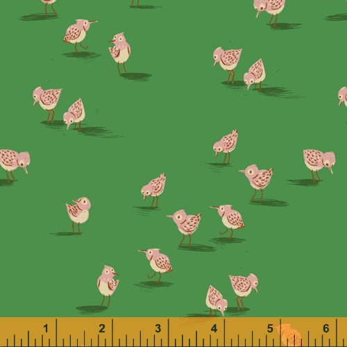 Malibu - Sandpiper in Green - Heather Ross for Windham - 52149-11 - Half Yard