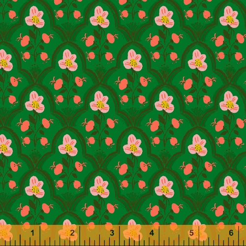 Malibu - Wood Block in Dark Green - Heather Ross for Windham - 52151-19 - Half Yard