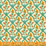 Malibu - Wood Block in Ocean - Heather Ross for Windham - 52151-1 - Half Yard