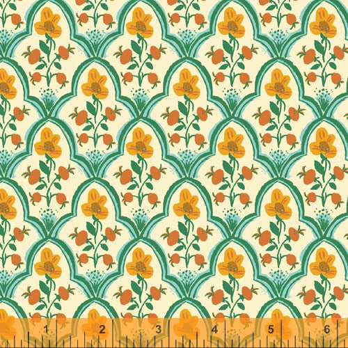PREORDER - Malibu - Wood Block in Ocean - Heather Ross for Windham - 52151-1 - Half Yard