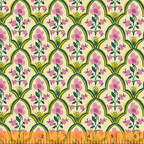 PREORDER - Malibu - Wood Block in Pink COTTON LAWN - Heather Ross for Windham - 52151L-7 - Half Yard