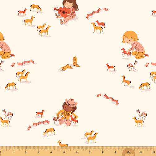Far Far Away III - Play Horses in Cream - Heather Ross for Windham Fabrics - 52753-5 - Half Yard