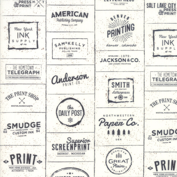 The Print Shop - Logos in Black - Sweetwater for Moda - 5740 23 - Half Yard