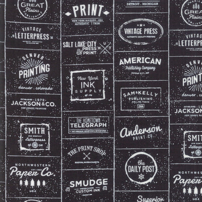 The Print Shop - Logos in Black - Sweetwater for Moda - 5740 33 - Half Yard