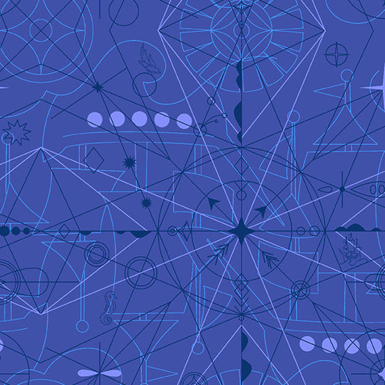 Sun Print 2018 - Compass in Lapis - Alison Glass for Andover Fabrics - A-8673-B - 1/2 Yard