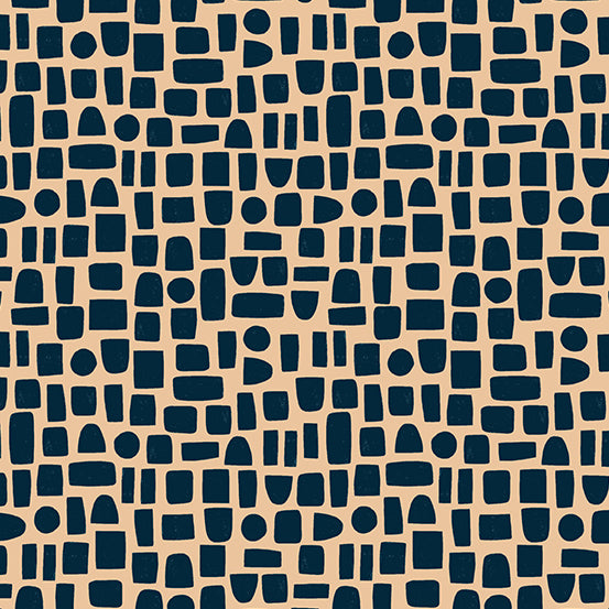 Perennial - Shapes in Slate - Sarah Golden for Andover - A-9568-BE - Half Yard