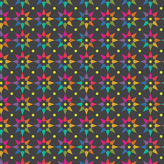 Art Theory - Rainbow Star in Charcoal  - Alison Glass for Andover - A-9703-C - Half Yard