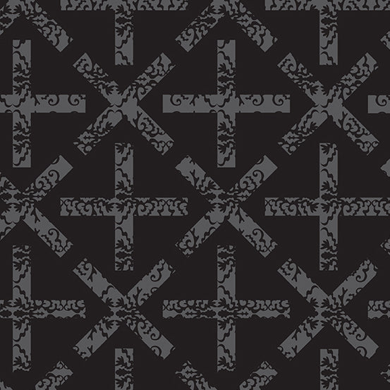 Art Theory - X & + in Charcoal  - Alison Glass for Andover - A-9704-C - Half Yard